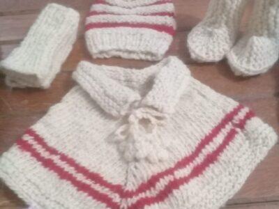 Conjunto de lã crua – infantil